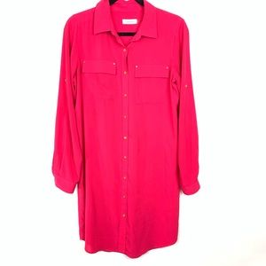 Calvin Klein pink roll tab shirt dress sz 8